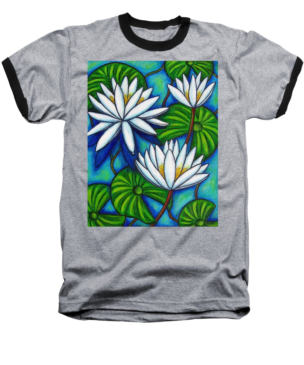 Lily Baseball T-Shirt featuring the painting Nymphaea Blue by Lisa Lorenz