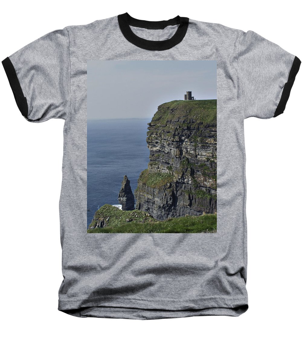 Irish Baseball T-Shirt featuring the photograph O Brien's Tower At The Cliffs Of Moher Ireland by Teresa Mucha