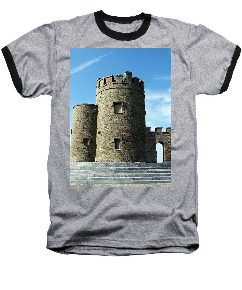 Irish Baseball T-Shirt featuring the photograph O Brien's Tower Cliffs Of Moher Ireland by Teresa Mucha