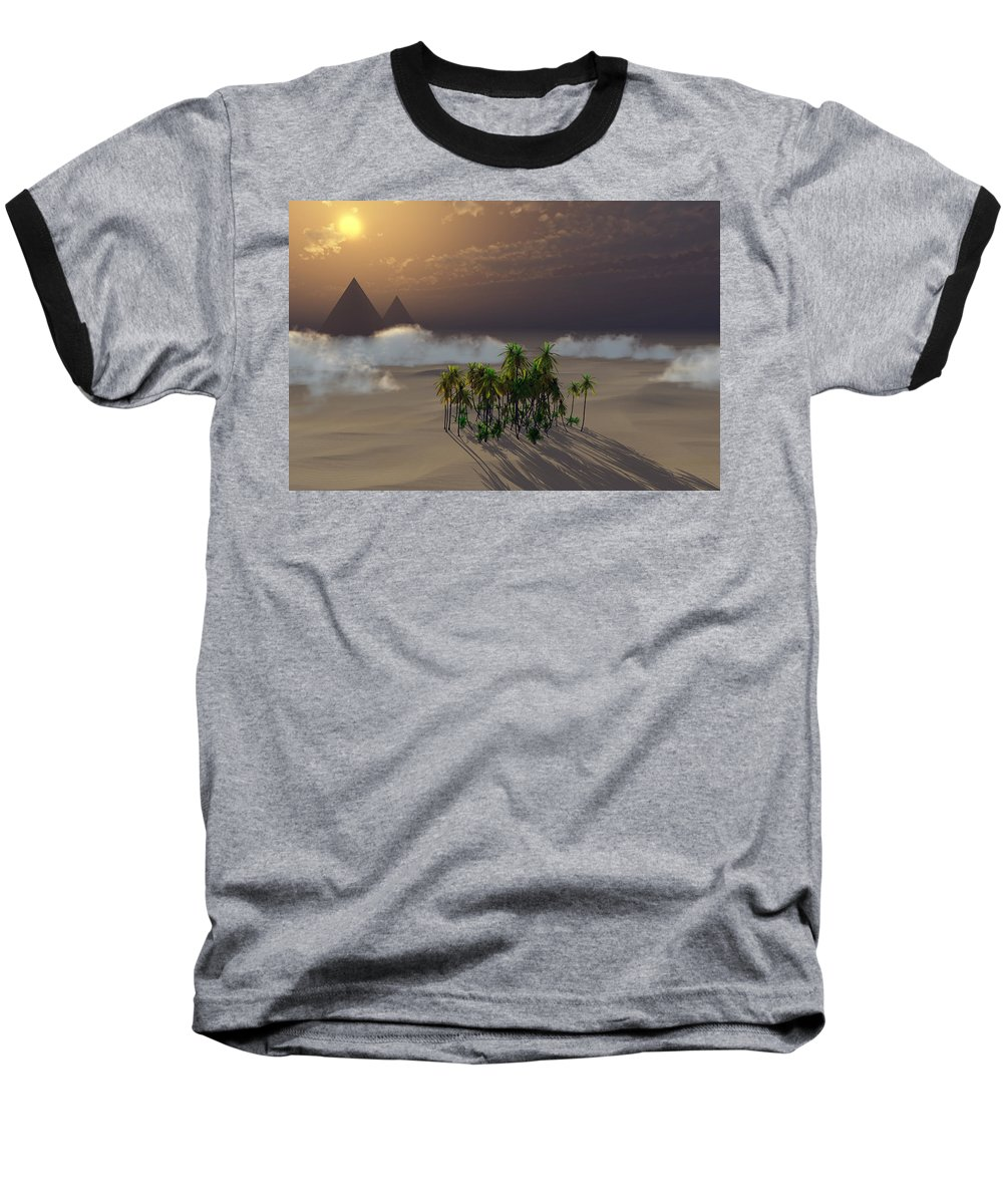 Deserts Baseball T-Shirt featuring the digital art Oasis by Richard Rizzo