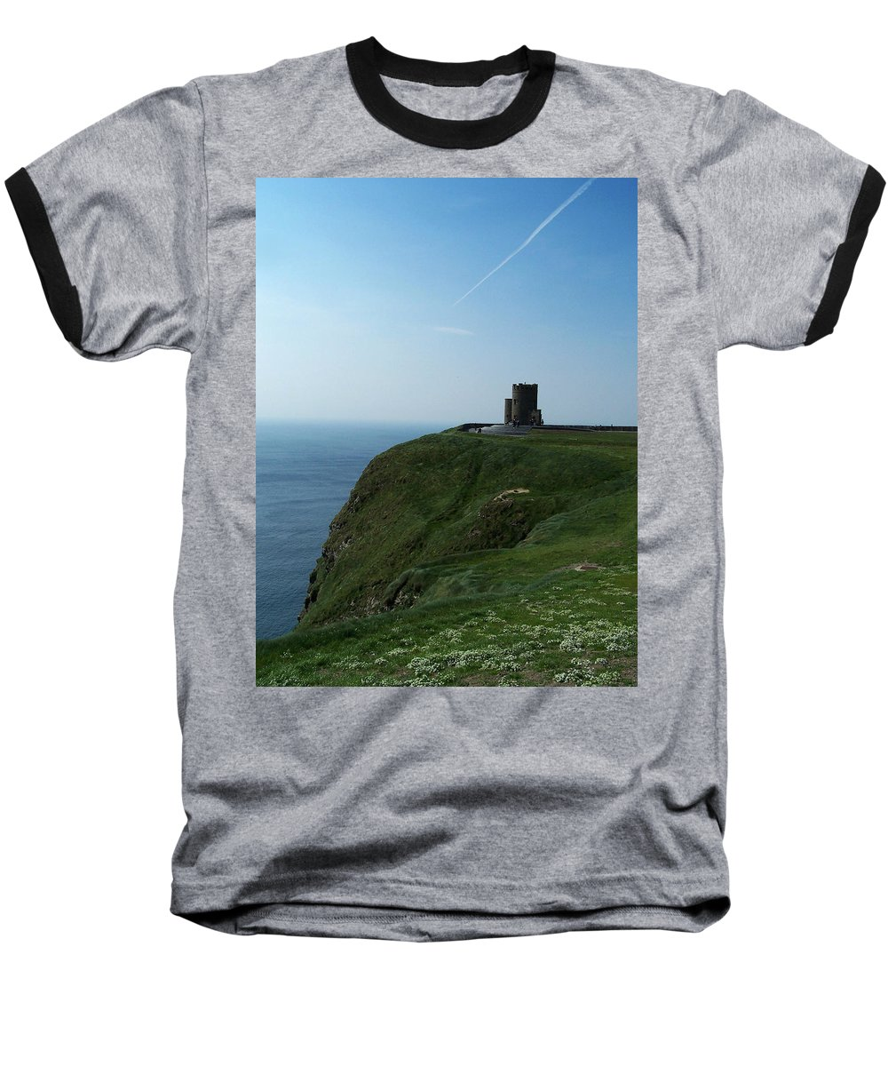 Irish Baseball T-Shirt featuring the photograph O'brien's Tower At The Cliffs Of Moher Ireland by Teresa Mucha
