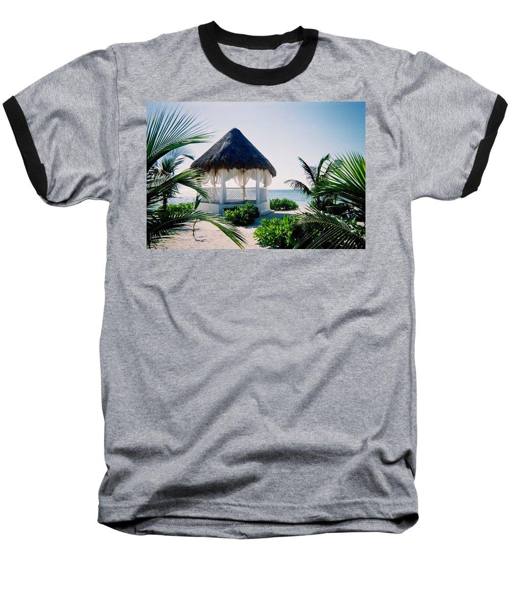 Resort Baseball T-Shirt featuring the photograph Ocean Gazebo by Anita Burgermeister