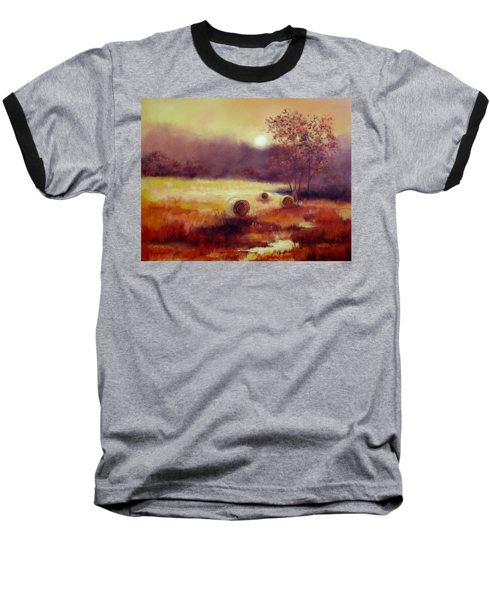 Fall Landscapes Baseball T-Shirt featuring the painting October Pasture by Ginger Concepcion