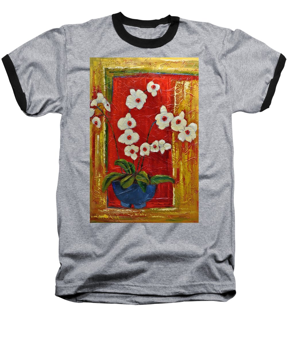 Orchids Baseball T-Shirt featuring the painting Ode To Orchids by Ginger Concepcion