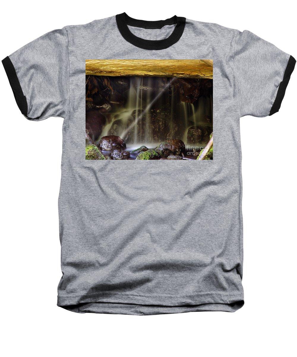 Water Trickle Baseball T-Shirt featuring the photograph Of Light And Mist by Peter Piatt