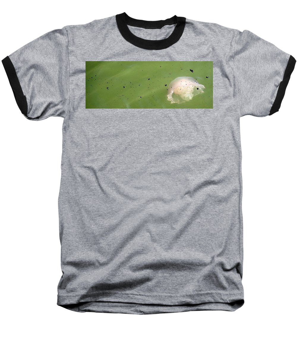 Oil Spill Baseball T-Shirt featuring the photograph Oil Vs Jellyfish by Kurt Hausmann
