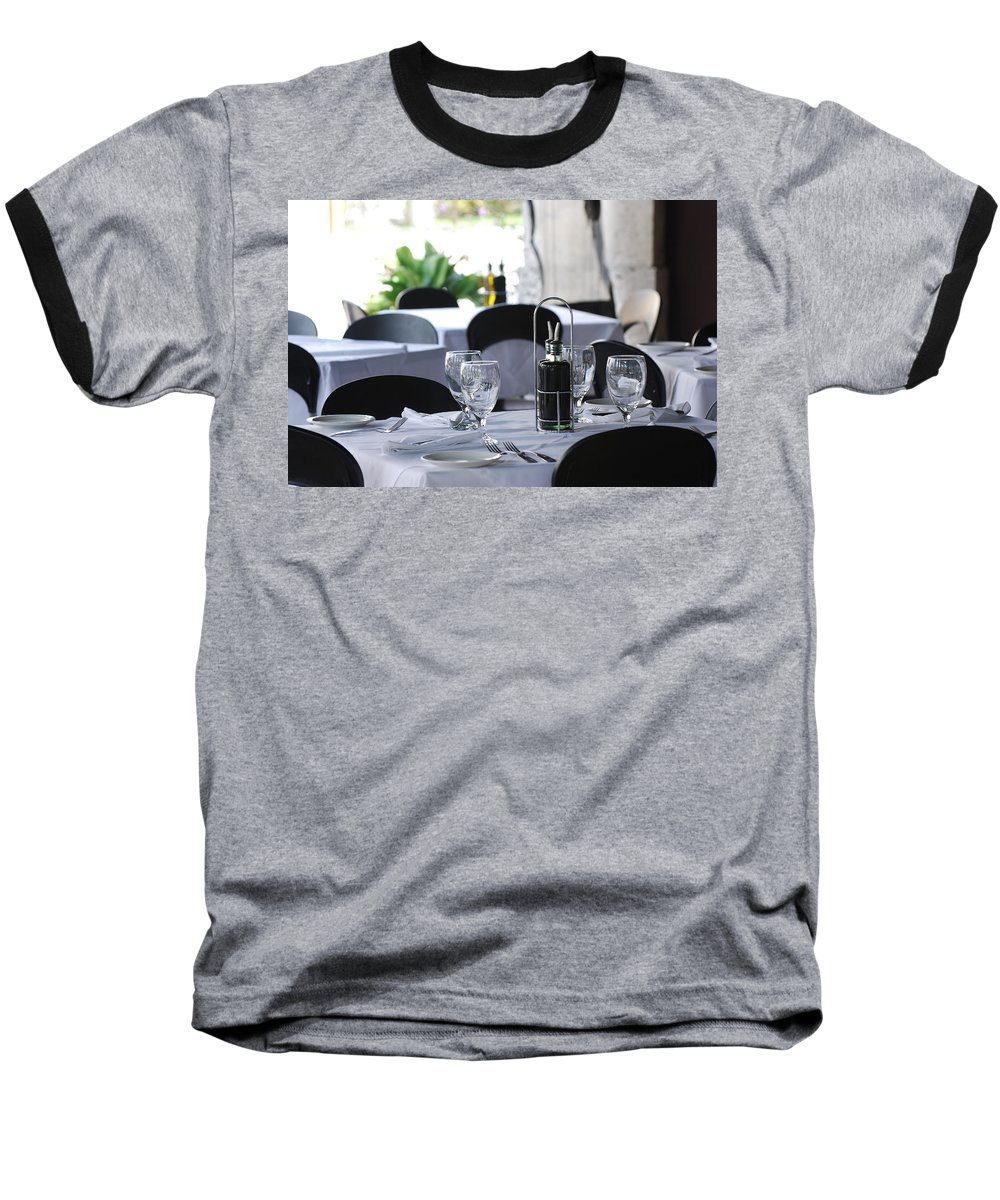 Tables Baseball T-Shirt featuring the photograph Oils And Glass At Dinner by Rob Hans