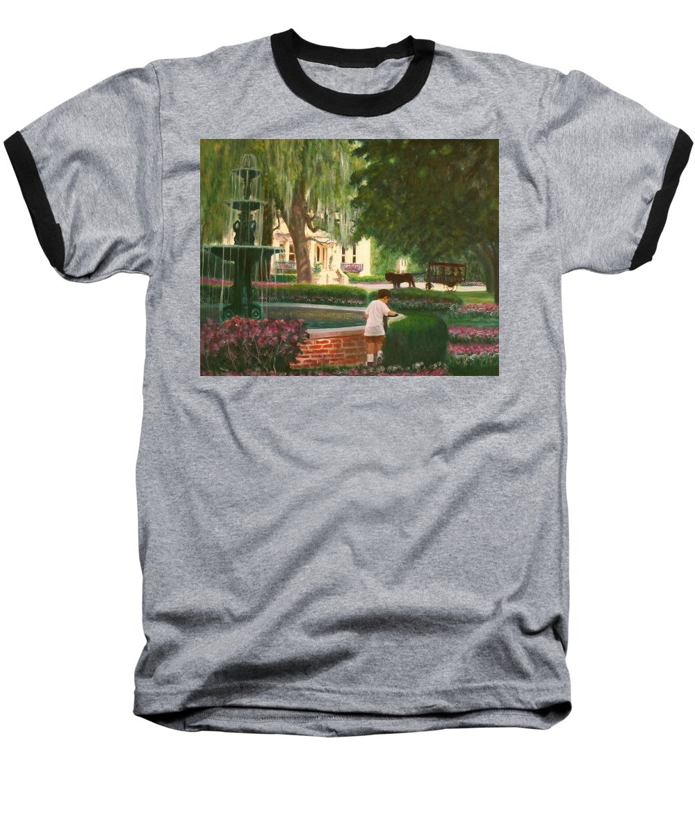 Savannah; Fountain; Child; House Baseball T-Shirt featuring the painting Old And Young Of Savannah by Ben Kiger