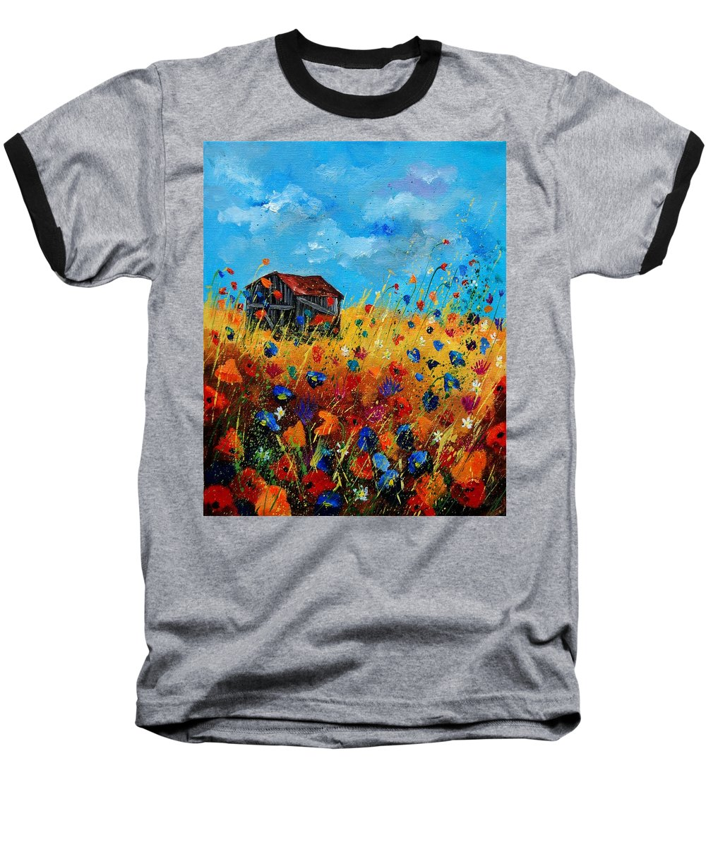 Poppies Baseball T-Shirt featuring the painting Old Barn by Pol Ledent