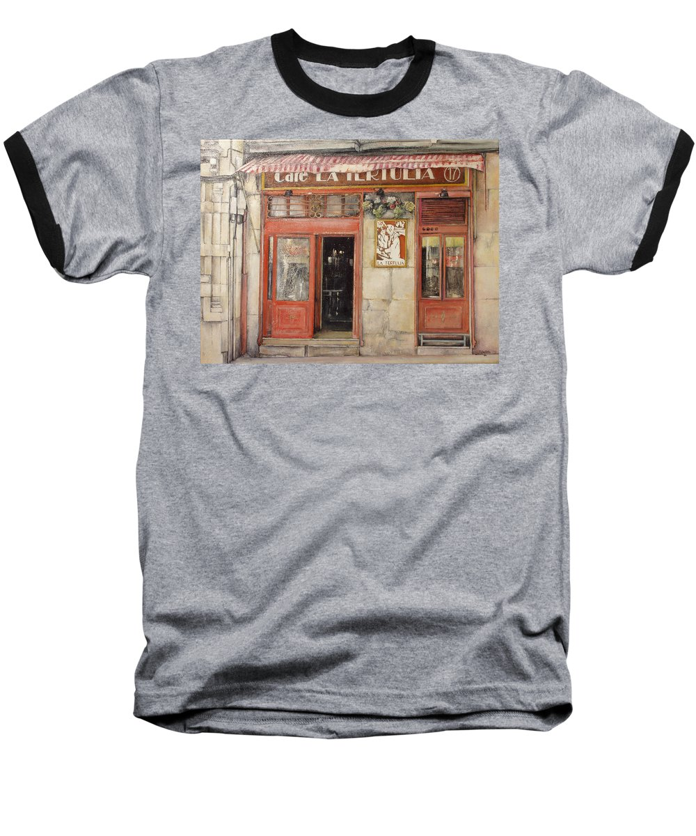 Cafe Baseball T-Shirt featuring the painting Old Cafe- Santander Spain by Tomas Castano