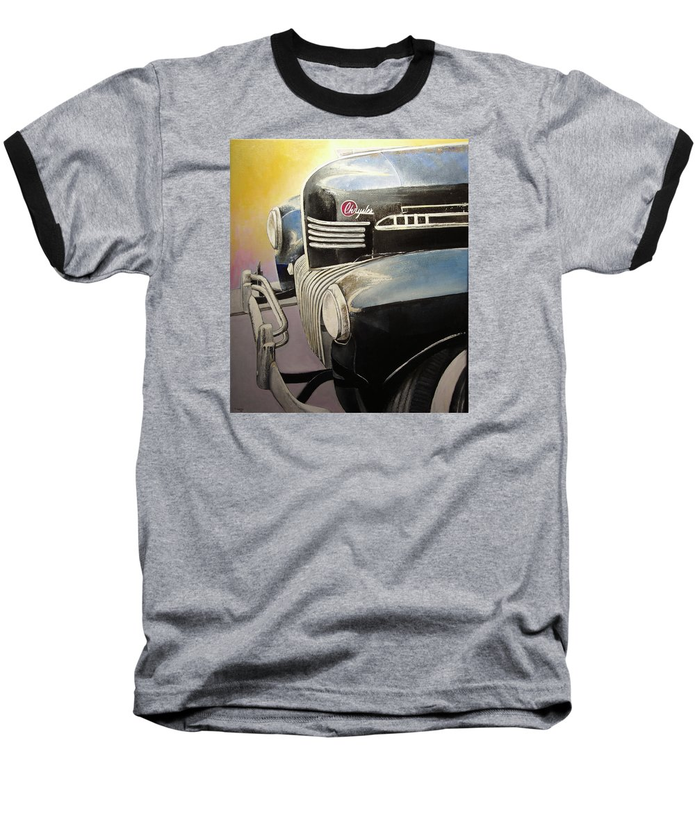 Old Baseball T-Shirt featuring the painting Old Chrysler by Tomas Castano