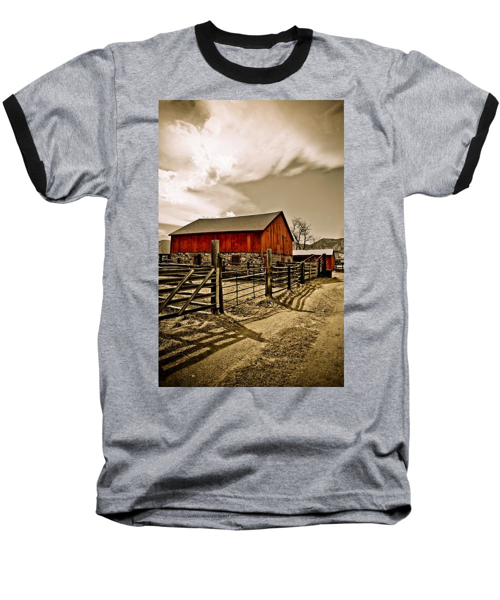 Americana Baseball T-Shirt featuring the photograph Old Country Farm by Marilyn Hunt