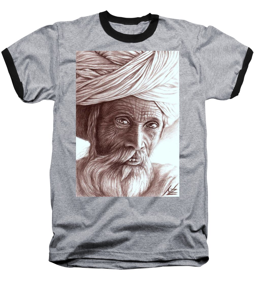 Man Baseball T-Shirt featuring the drawing Old Indian Man by Nicole Zeug