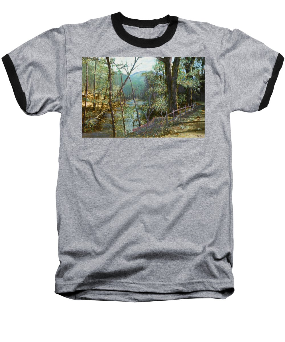 River; Trees; Landscape Baseball T-Shirt featuring the painting Old Man River by Ben Kiger