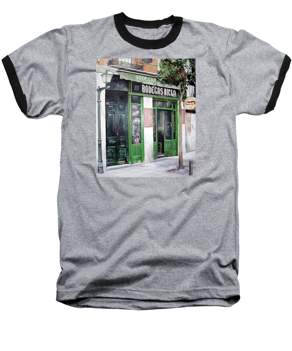 Bodegas Baseball T-Shirt featuring the painting Old Tavern-madrid by Tomas Castano