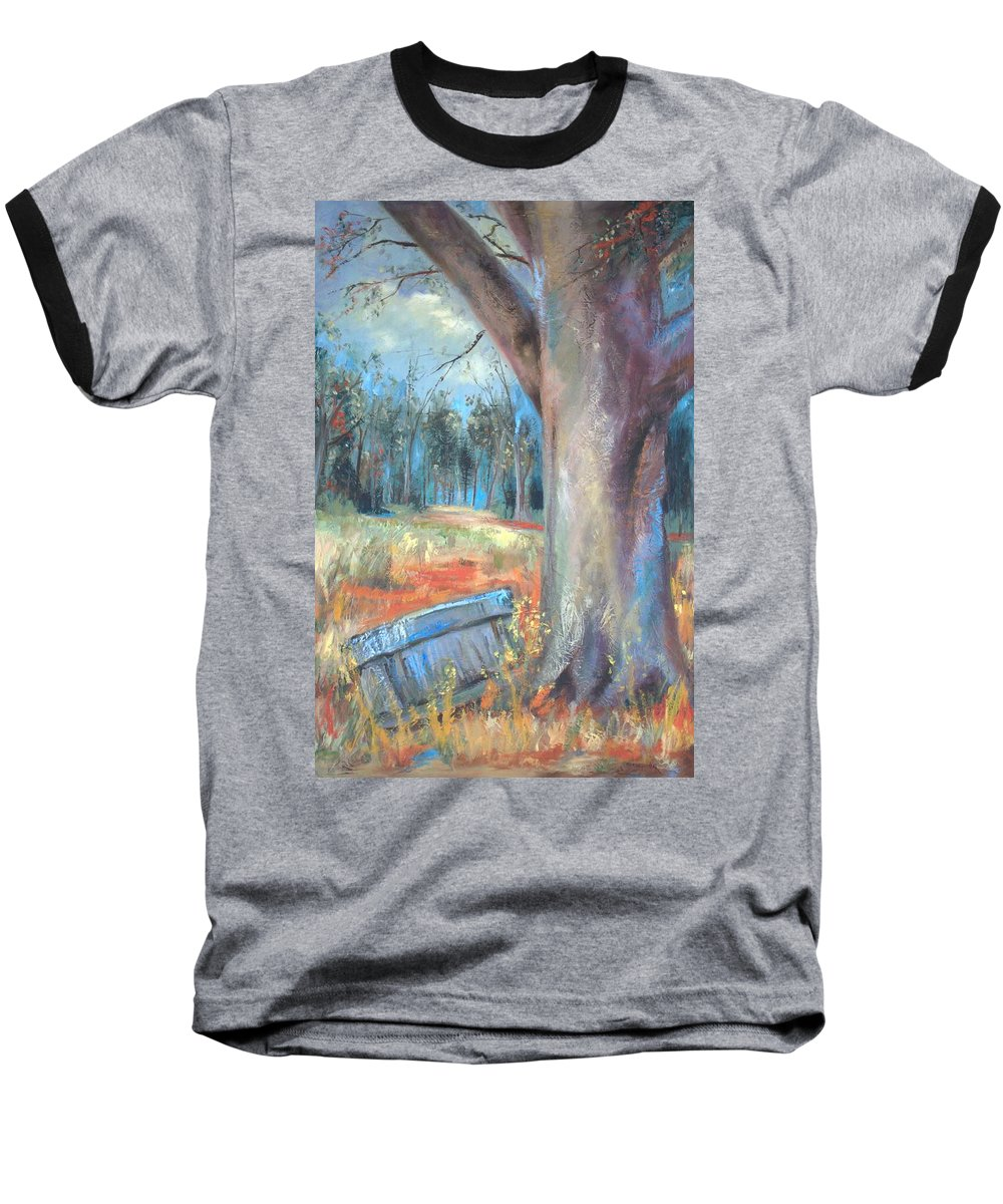 Country Scenes Baseball T-Shirt featuring the painting Old Times by Ginger Concepcion