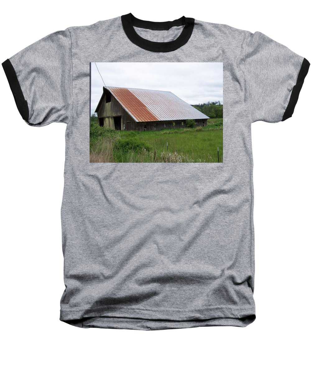 Barn Baseball T-Shirt featuring the photograph Old Tin Roof Barn Washington State by Laurie Kidd