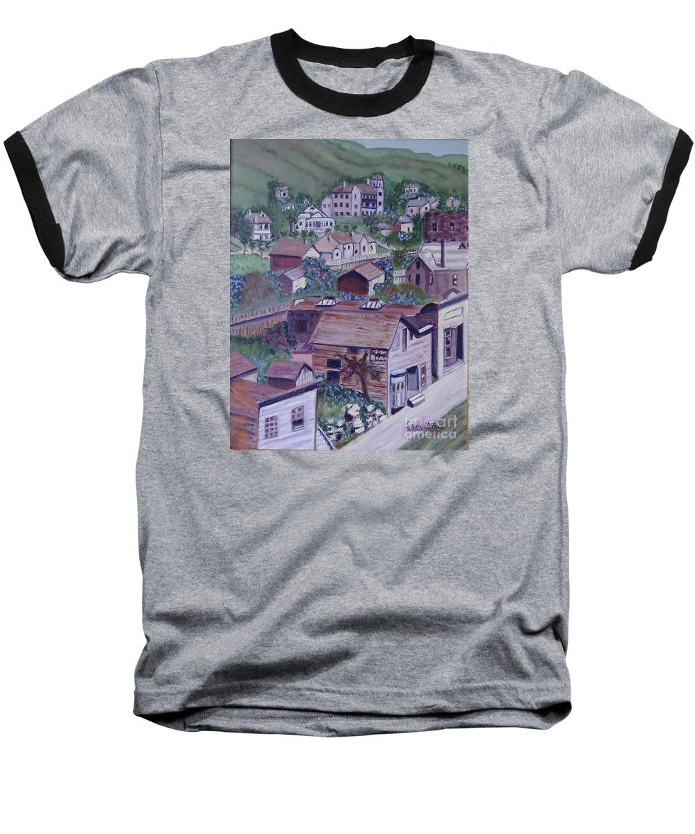 Ventura Baseball T-Shirt featuring the painting Old Ventura by Laurie Morgan