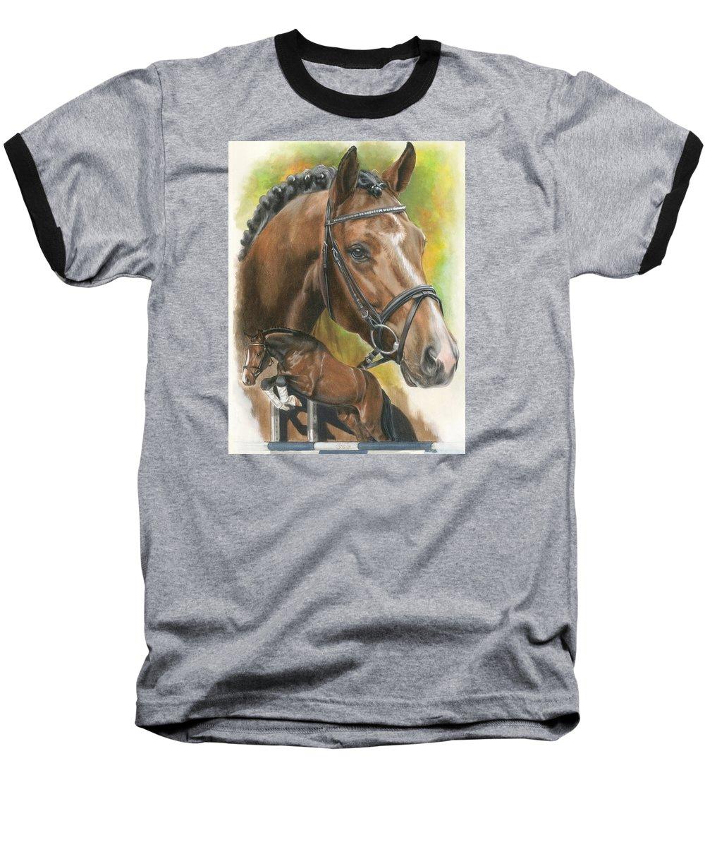 Horse Baseball T-Shirt featuring the mixed media Oldenberg by Barbara Keith