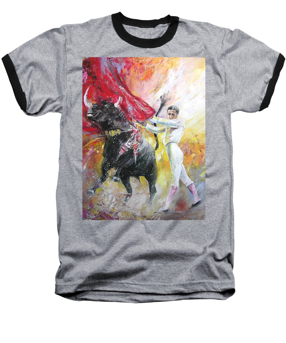 Animals Baseball T-Shirt featuring the painting Ole by Miki De Goodaboom