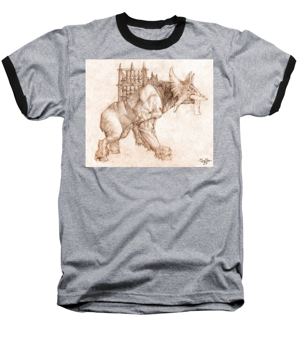Lord Of The Rings Baseball T-Shirt featuring the drawing Oliphaunt by Curtiss Shaffer