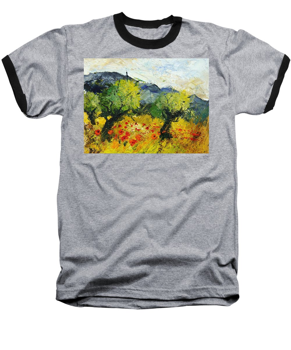 Flowers Baseball T-Shirt featuring the painting Olive Trees And Poppies by Pol Ledent