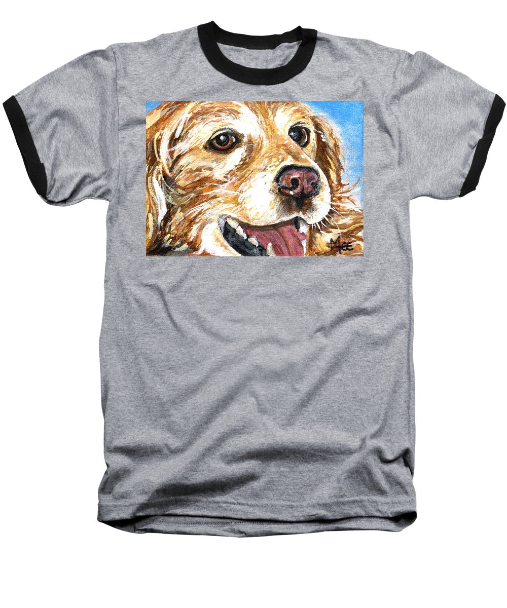 Charity Baseball T-Shirt featuring the painting Oliver From Muttville by Mary-Lee Sanders