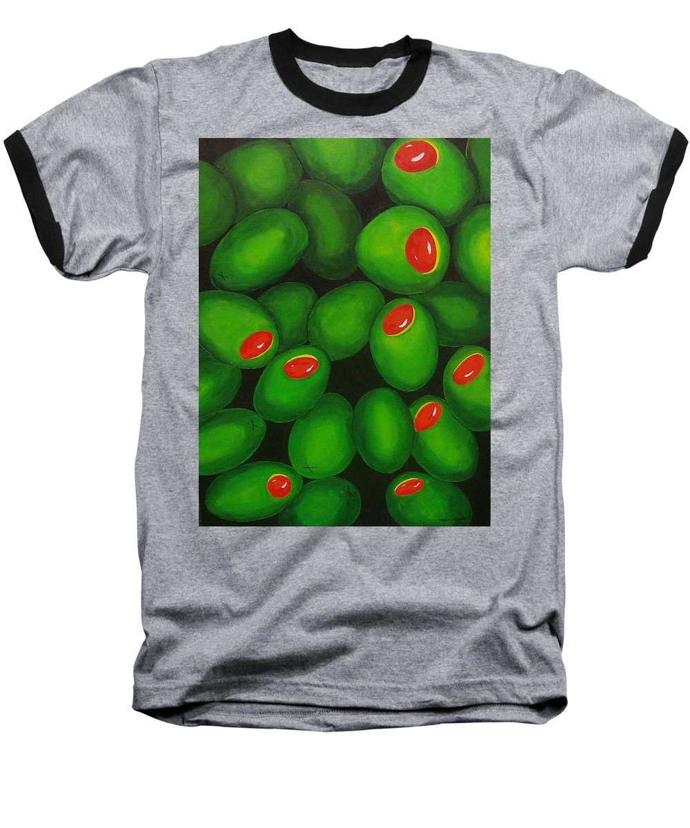 Olive Baseball T-Shirt featuring the painting Olives by Micah Guenther