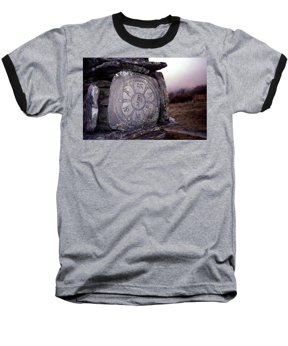 Langtang Baseball T-Shirt featuring the photograph Om Mani Padme Hum by Patrick Klauss