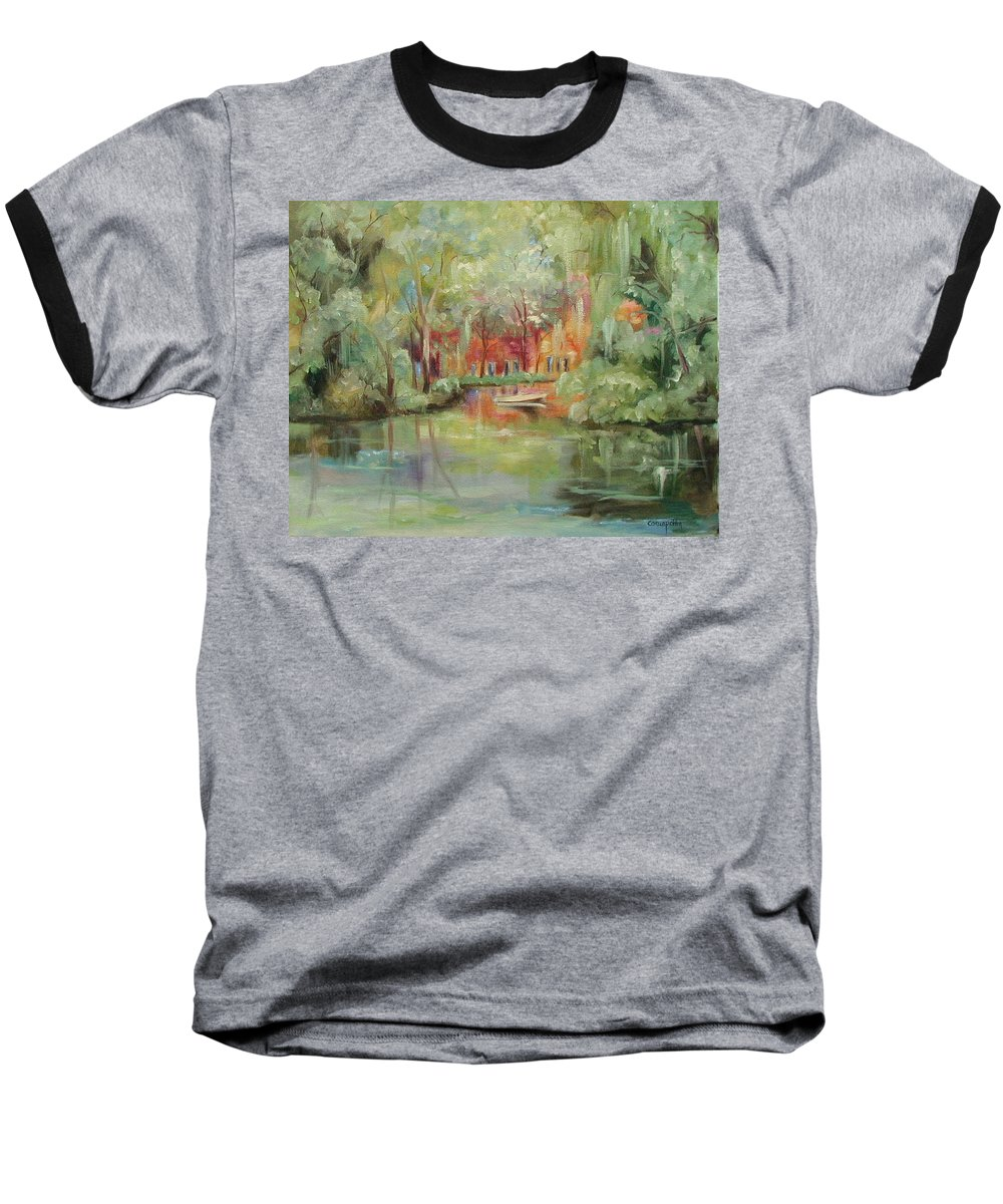 Bayou Baseball T-Shirt featuring the painting On A Bayou by Ginger Concepcion