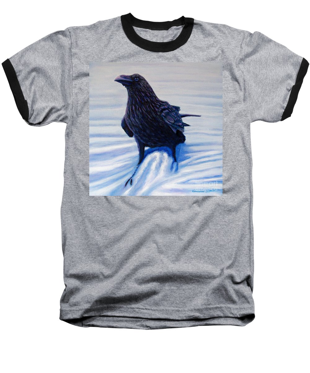 Raven Baseball T-Shirt featuring the painting On Canyon Road by Brian Commerford