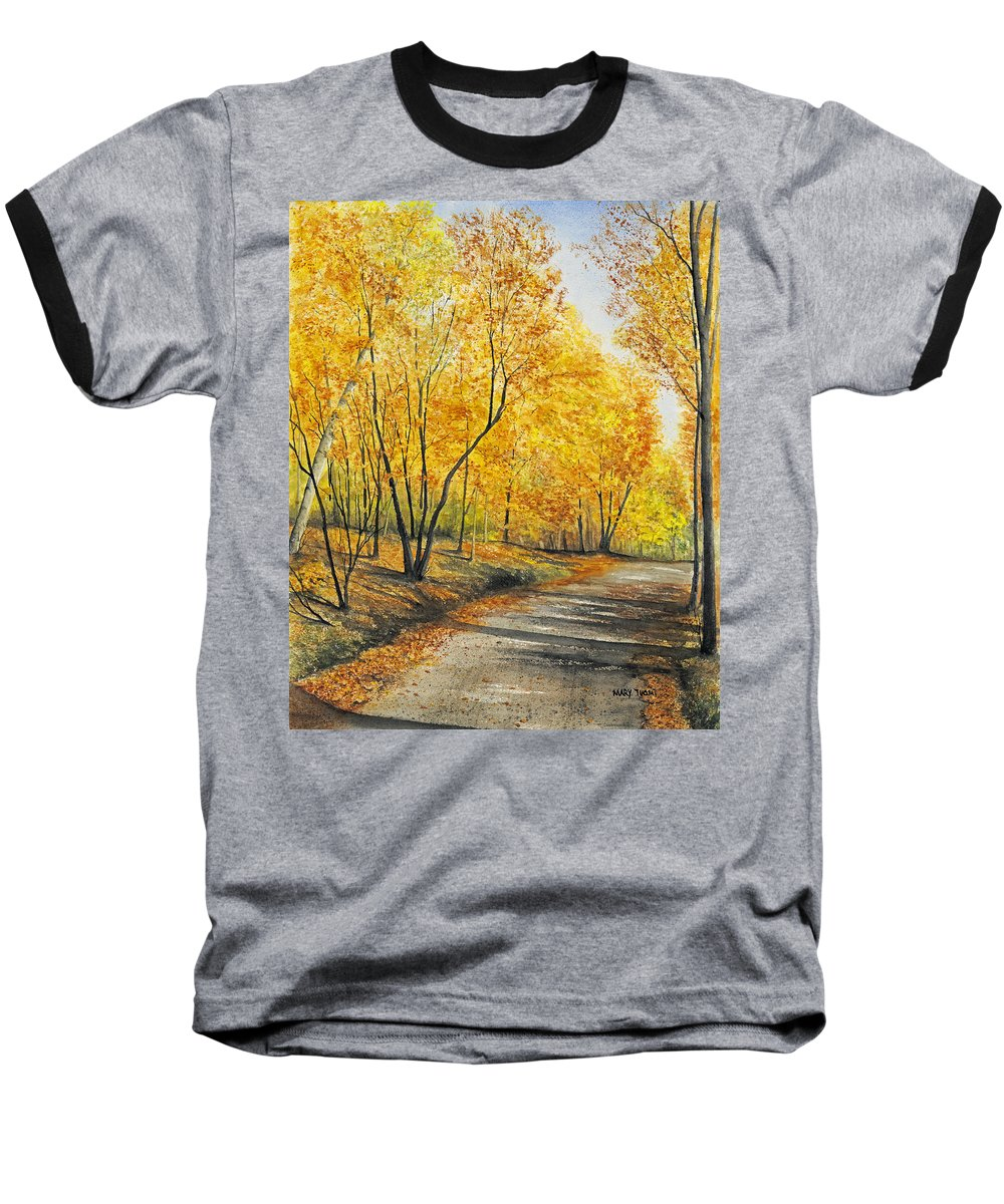 Autumn Baseball T-Shirt featuring the painting On Golden Road by Mary Tuomi