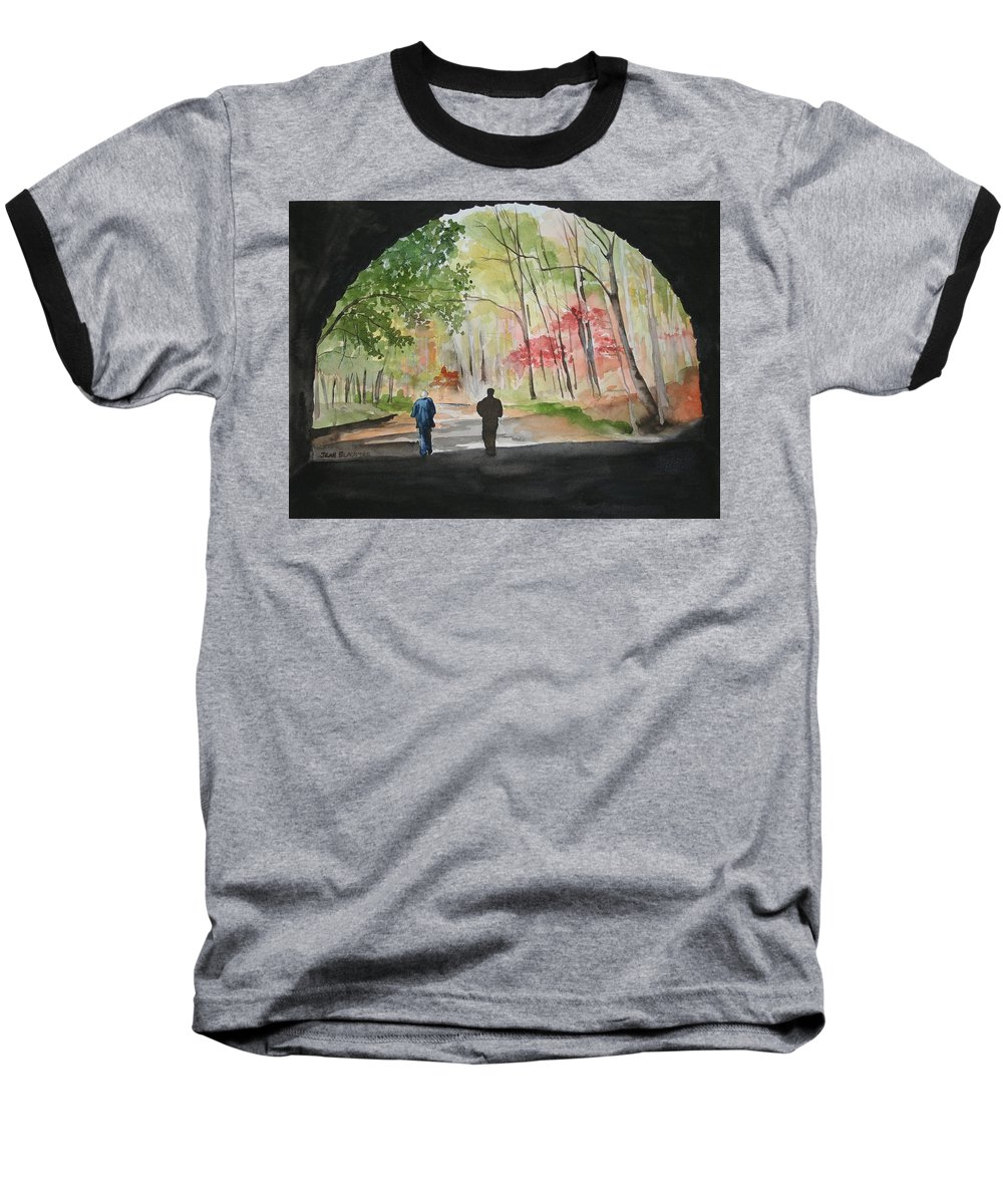 Road Baseball T-Shirt featuring the painting On The Road To Nowhere by Jean Blackmer