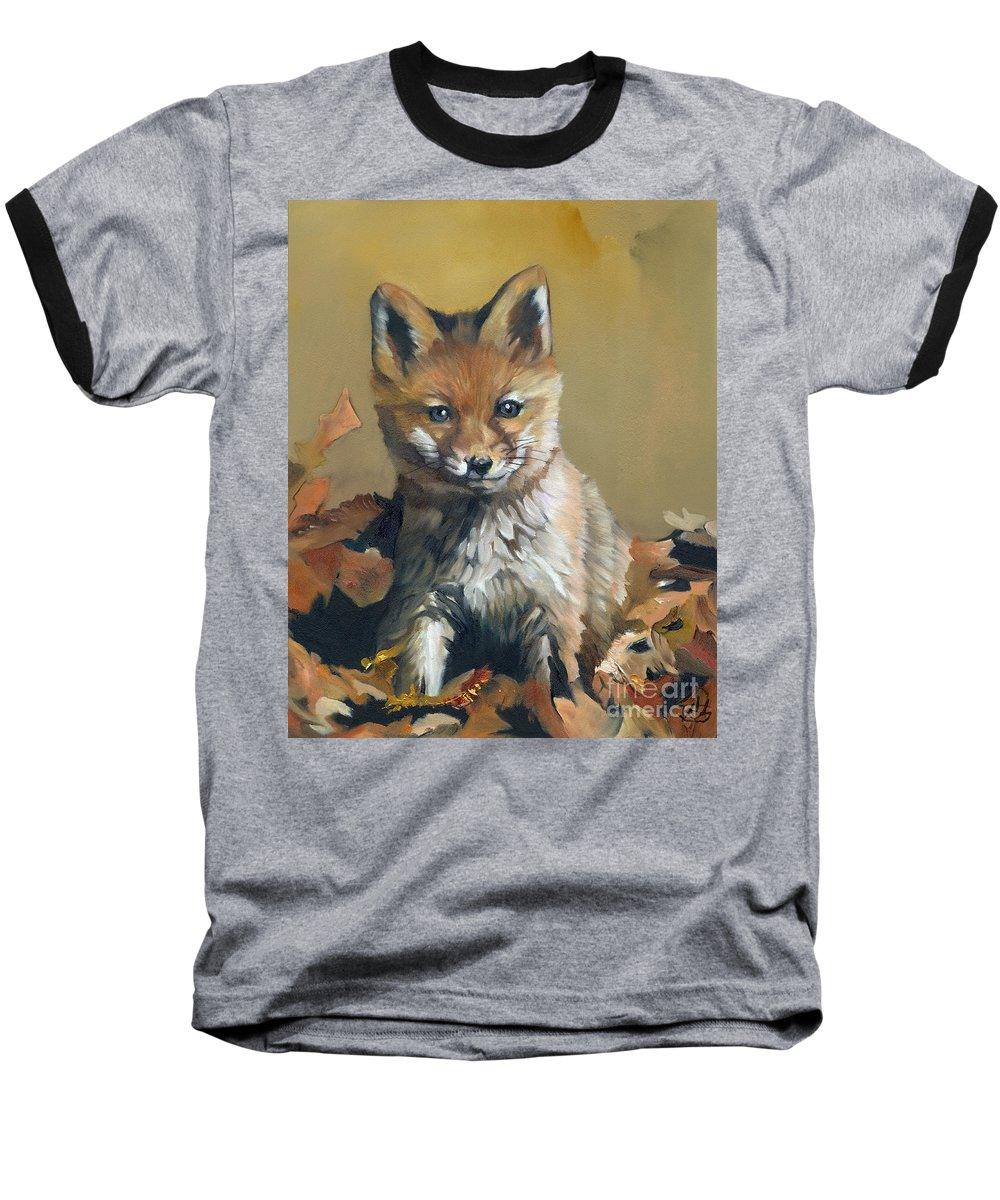 Fox Baseball T-Shirt featuring the painting Once Upon A Time by J W Baker