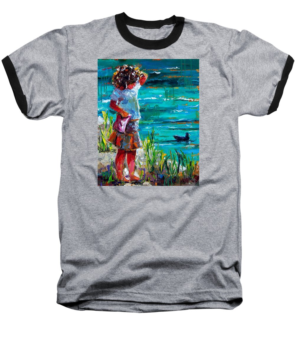 Children Baseball T-Shirt featuring the painting One Lucky Duck by Debra Hurd