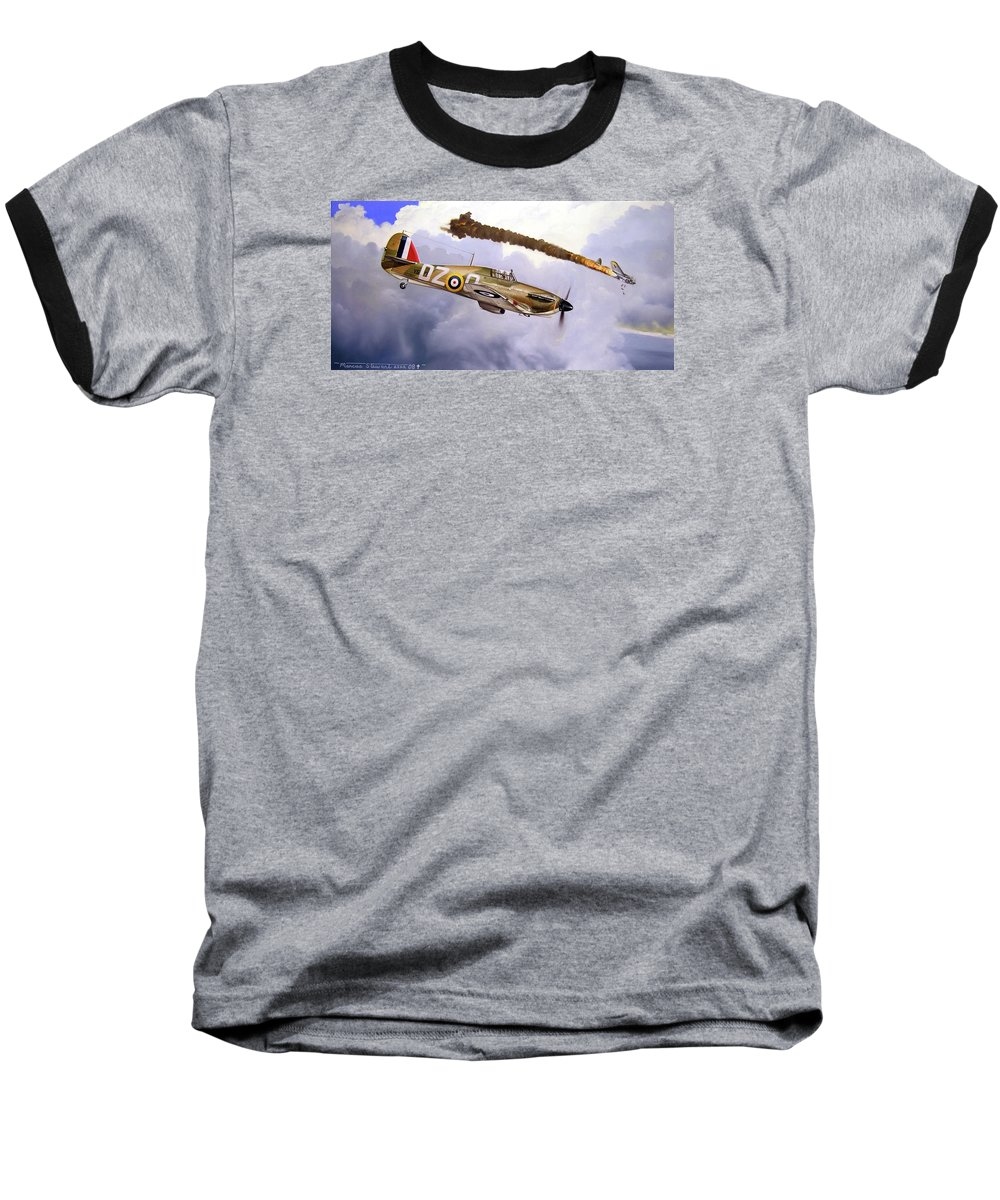 Aviation Art Baseball T-Shirt featuring the painting One Of The Few by Marc Stewart