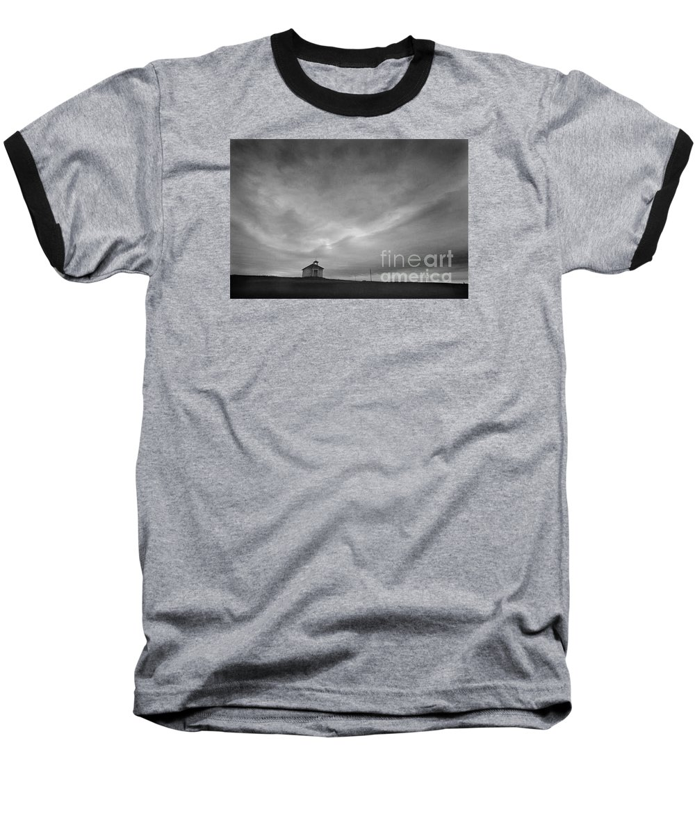 Landscape Baseball T-Shirt featuring the photograph One Room Schoolhouse by Michael Ziegler
