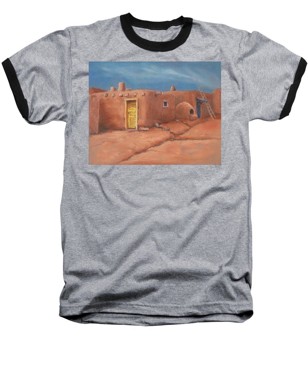 Taos Baseball T-Shirt featuring the painting One Yellow Door by Jerry McElroy