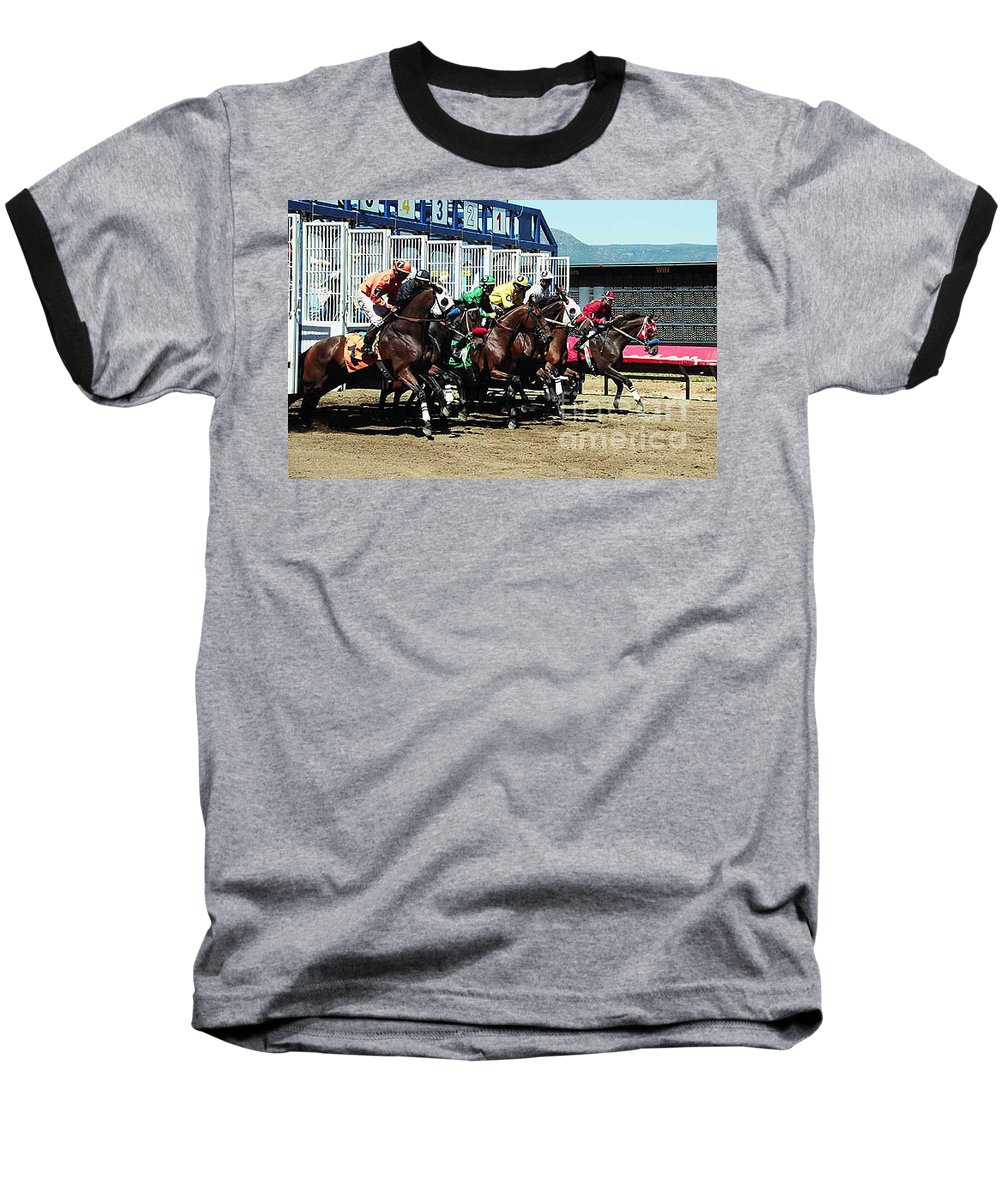 Horse Baseball T-Shirt featuring the photograph Only A Mile To Go by Kathy McClure