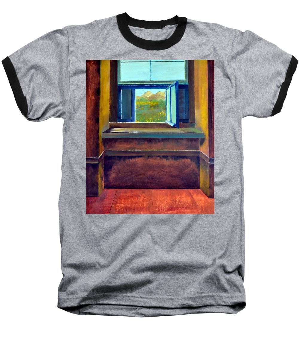 Trompe L'oeil Baseball T-Shirt featuring the painting Open Window by Michelle Calkins