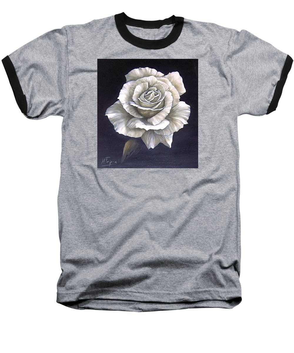 Rose Flower Baseball T-Shirt featuring the painting Opened Rose by Natalia Tejera
