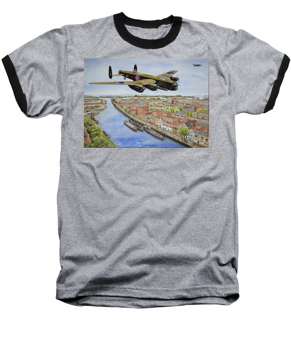 Lancaster Bomber Baseball T-Shirt featuring the painting Operation Manna II by Gale Cochran-Smith