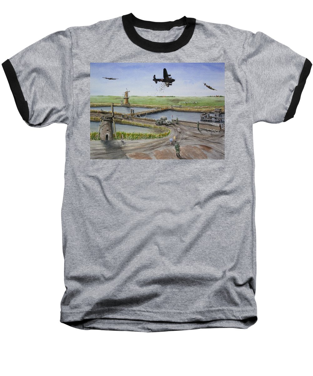 Lancaster Bomber Baseball T-Shirt featuring the painting Operation Manna IIi by Gale Cochran-Smith