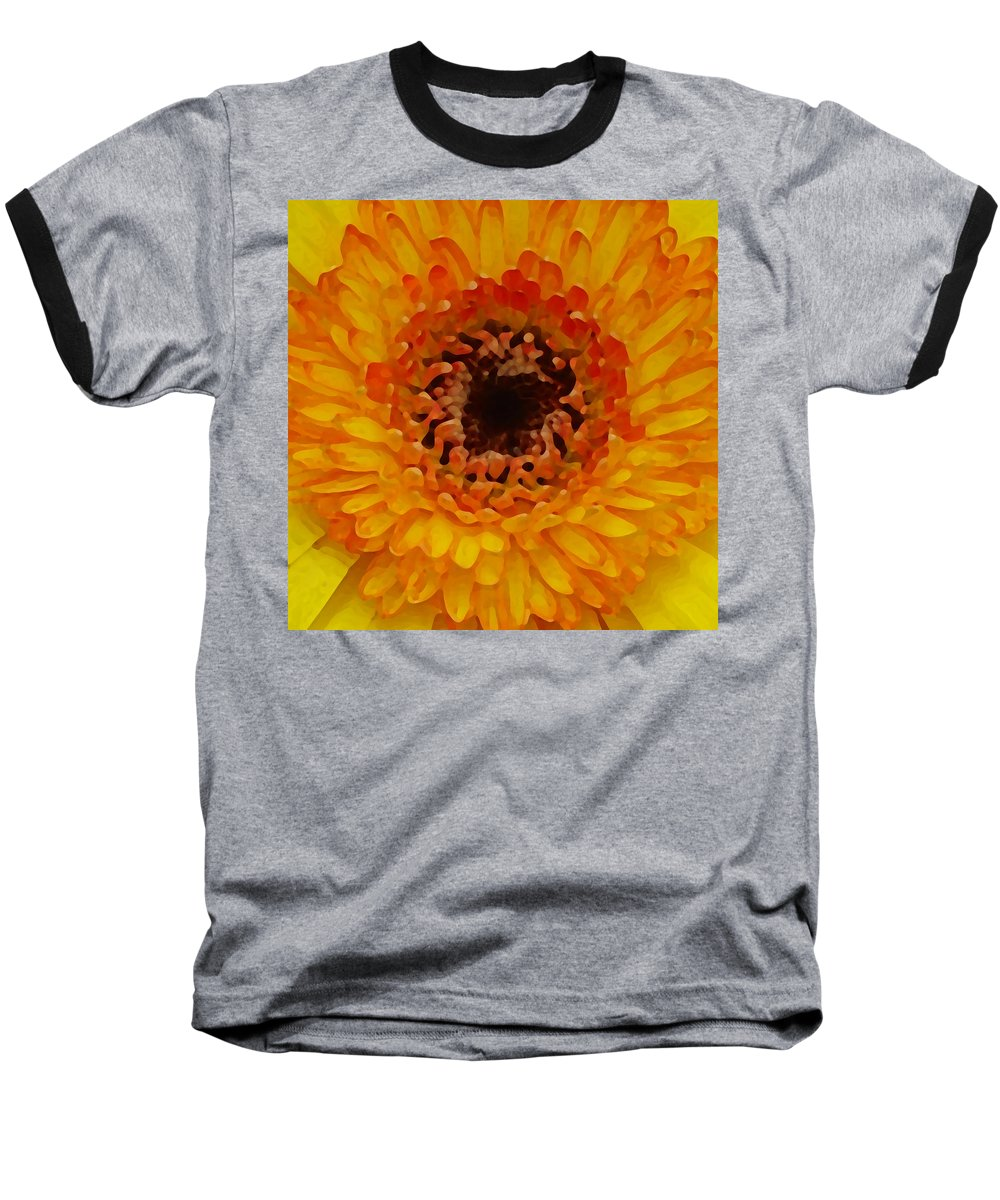 Daisy Baseball T-Shirt featuring the painting Orange And Black Gerber Center by Amy Vangsgard