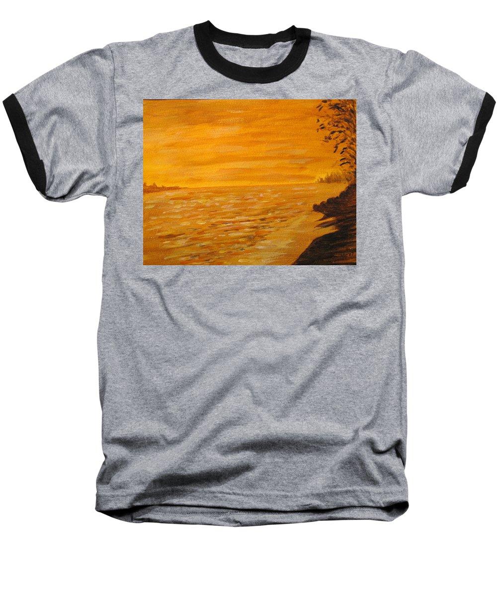Ocean Baseball T-Shirt featuring the painting Orange Beach by Ian MacDonald