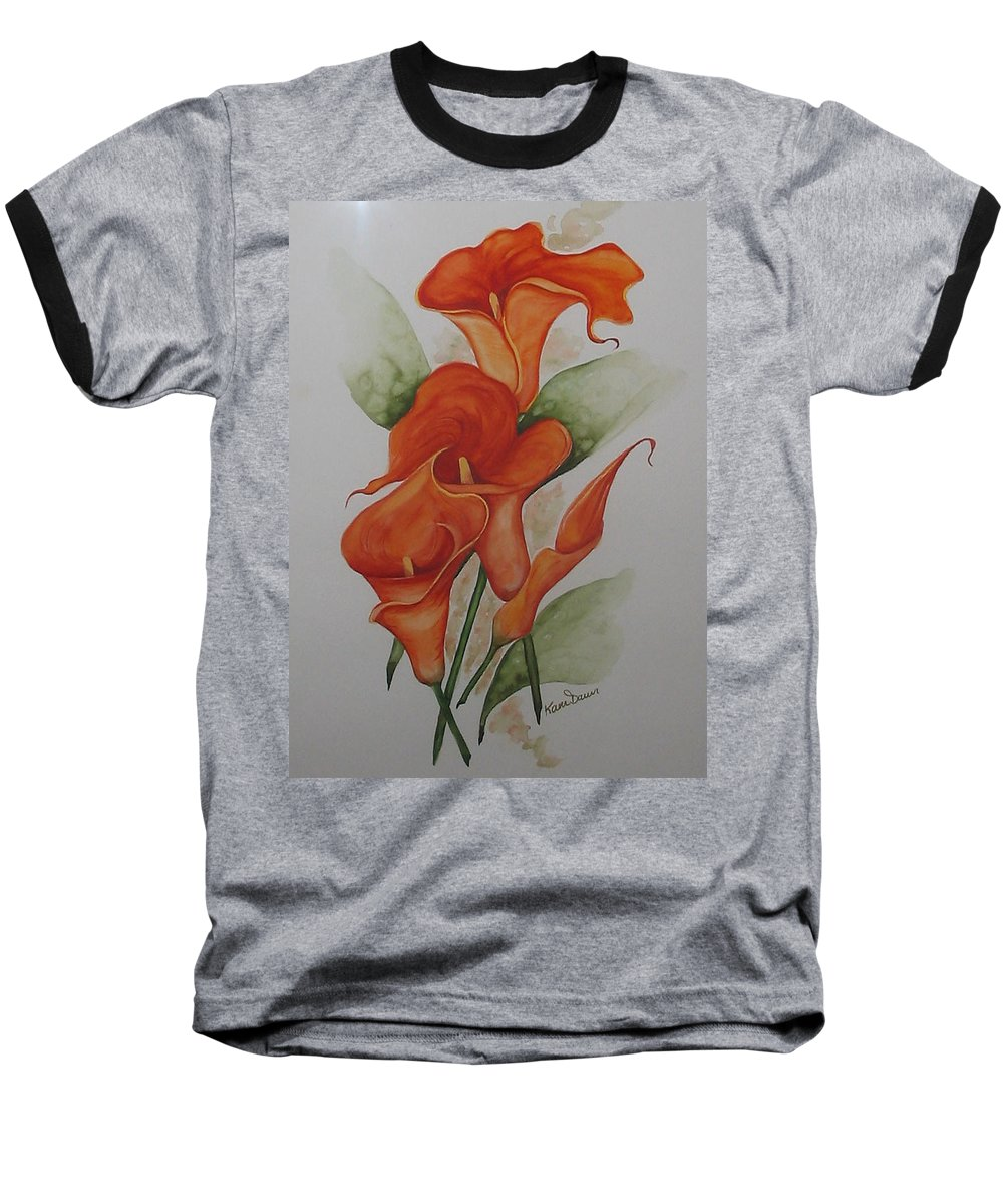 Floral Orange Lily Baseball T-Shirt featuring the painting Orange Callas by Karin Dawn Kelshall- Best
