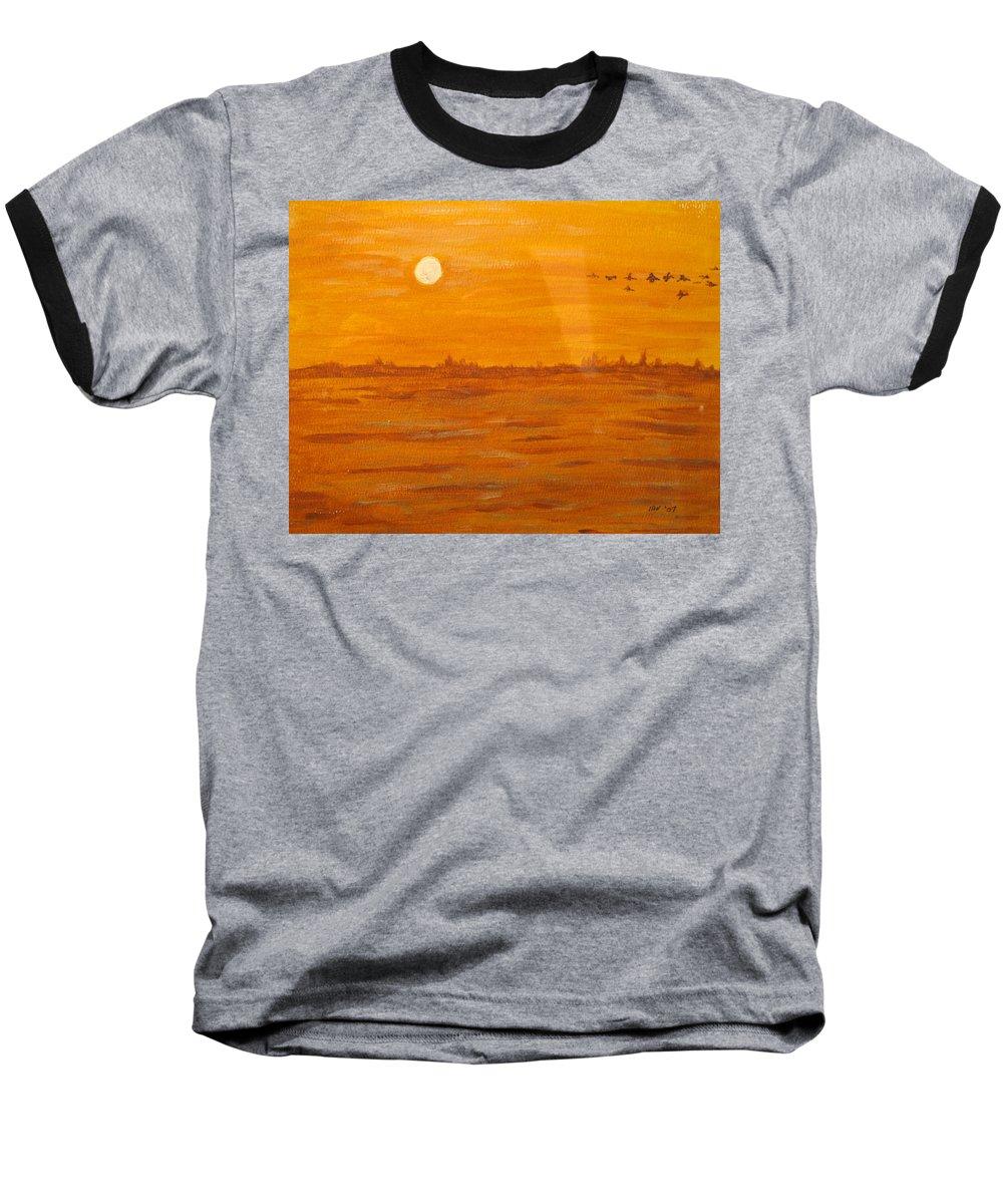Orange Baseball T-Shirt featuring the painting Orange Ocean by Ian MacDonald