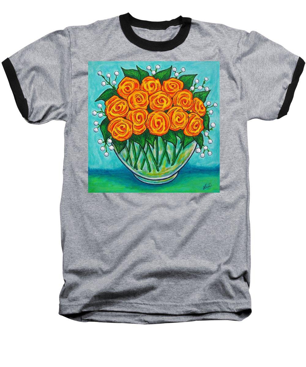 Orange Baseball T-Shirt featuring the painting Orange Passion by Lisa Lorenz