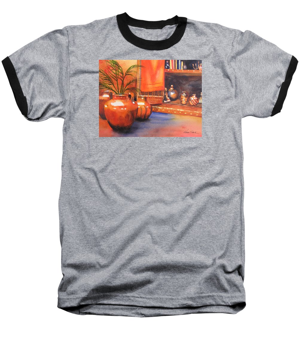 Pottery Baseball T-Shirt featuring the painting Orange Scarf by Karen Stark