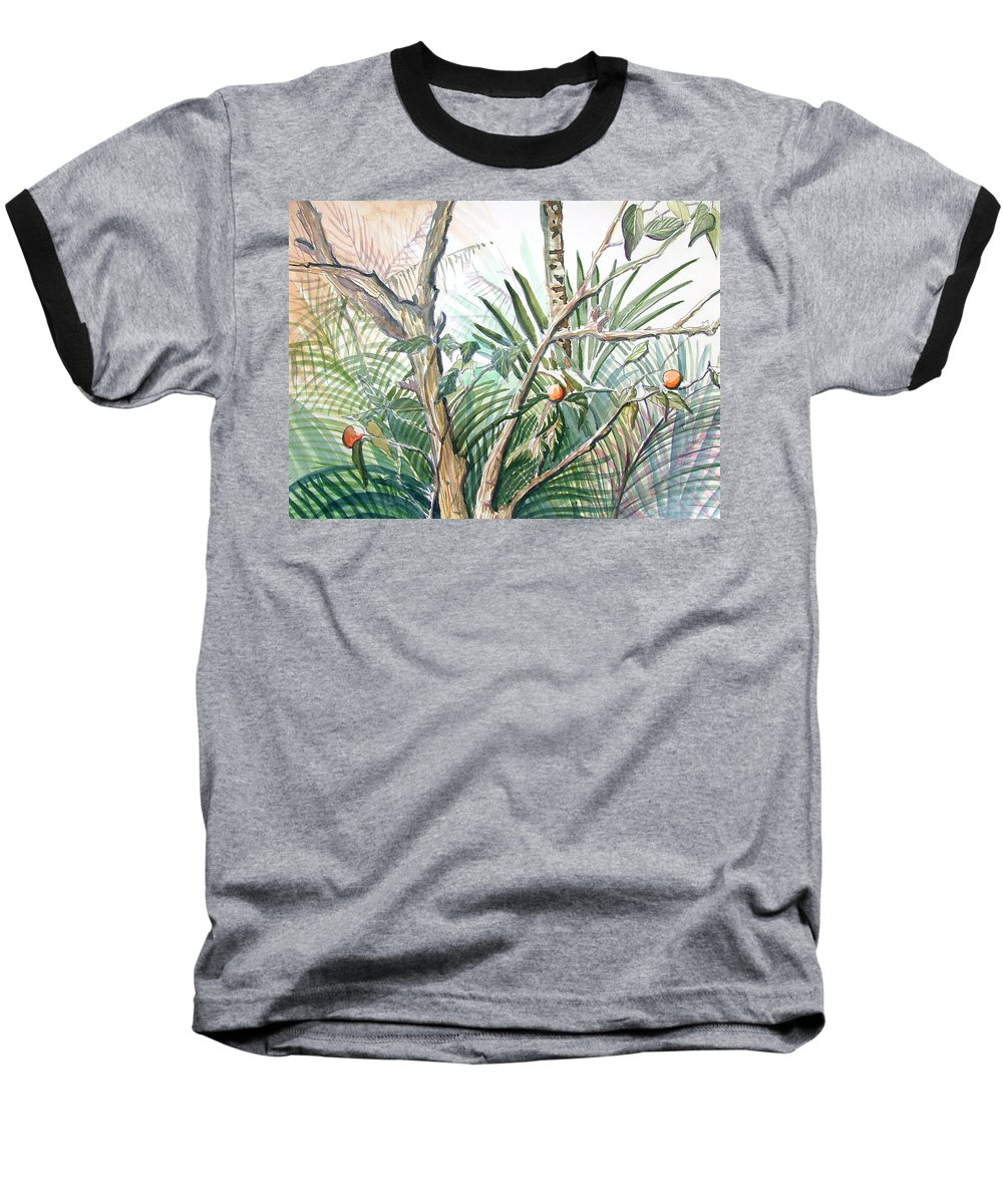Fruit Baseball T-Shirt featuring the painting Orange Tree by Mindy Newman